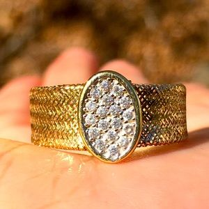 14k Yellow Gold Diamond Pave Disc Mesh Ring
